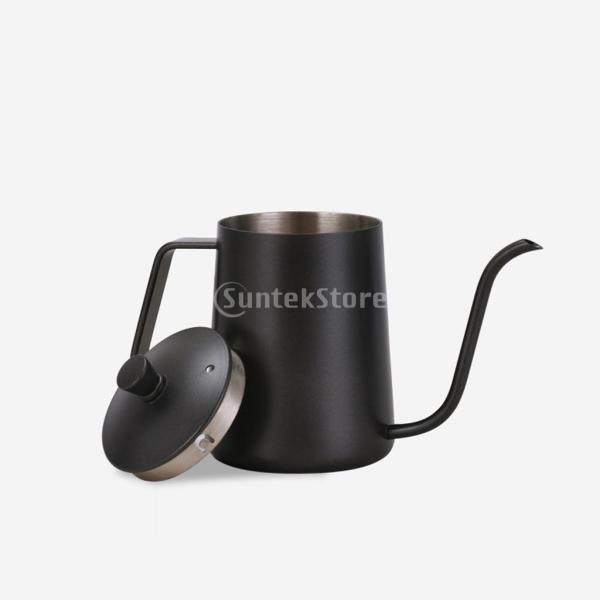 ステンレスス製 コーヒーポット モカ ミルク用 ティーケトル 600ml ドリップポット 黒|stk-shop|12