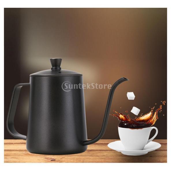 ステンレスス製 コーヒーポット モカ ミルク用 ティーケトル 600ml ドリップポット 黒|stk-shop|03