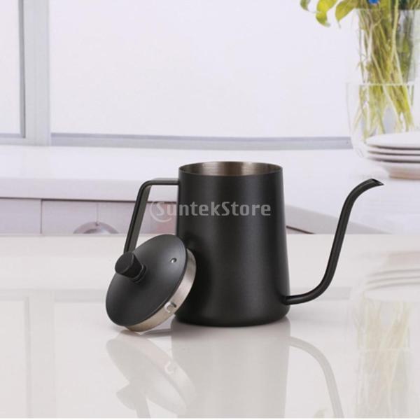 ステンレスス製 コーヒーポット モカ ミルク用 ティーケトル 600ml ドリップポット 黒|stk-shop|05