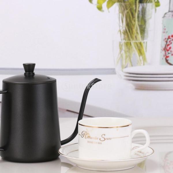 ステンレスス製 コーヒーポット モカ ミルク用 ティーケトル 600ml ドリップポット 黒|stk-shop|08