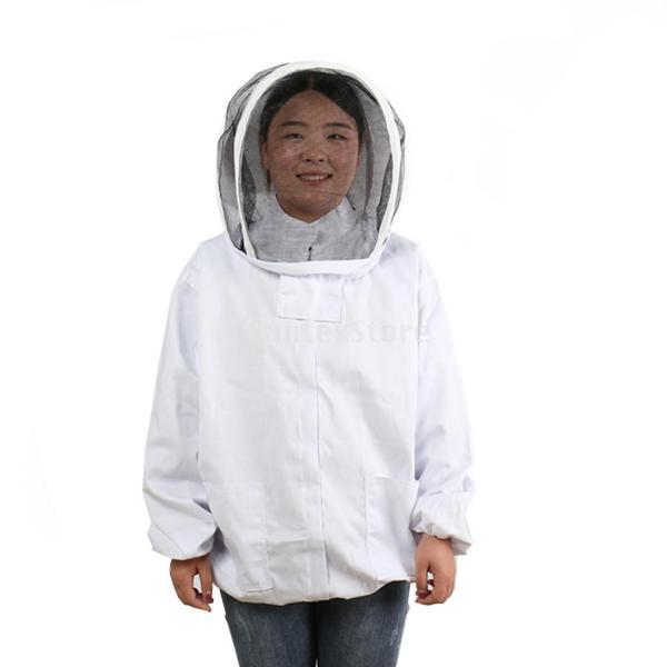 養蜂ジャケット ベール 帽子 フリーサイズ プロ保護服 養蜂用 ポリエステル コットン ホワイト