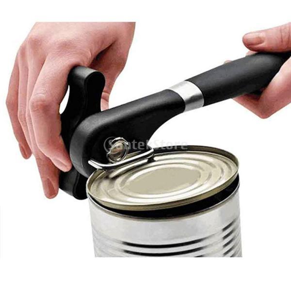 回転式 缶オープナー 安全操作 缶切り ステンレス 人間工学 滑り止め ハンドル 黒色|stk-shop|07