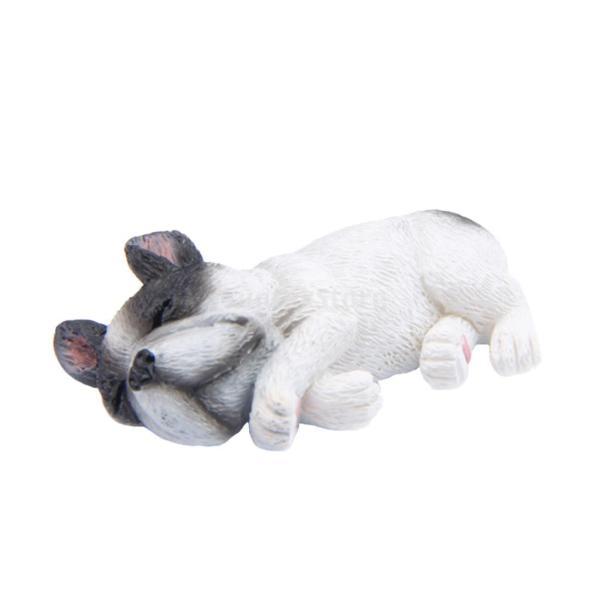 犬の装飾 ブルドッグ ミニチュア 眠り全7種 ドールハウス 置物 樹脂製 ギフト - ホワイト2