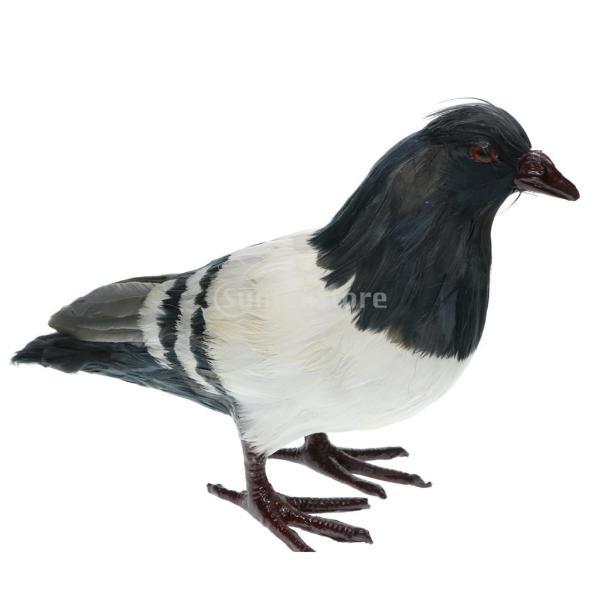 人工フェザー 鳩の装飾 現実的 鳥の置物 お庭 インテリア 芝生 店の窓 7種選択  - #2グレー・スタンド