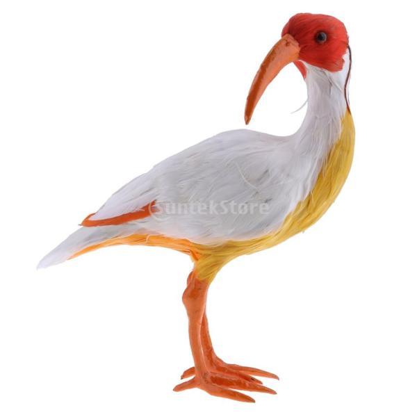 庭の装飾 鳥の置物 芝生 屋外 ガーデン オーナメント 動物モデル 生き生き 人工羽根 10種選択 - #7レッドクレステッドアイビス