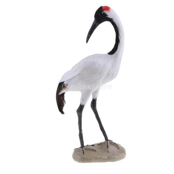 庭の装飾 鳥の置物 芝生 屋外 ガーデン オーナメント 動物モデル 生き生き 人工羽根 10種選択 - #9レッドクラウンクレーン