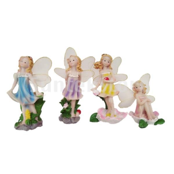 DIYのドールハウスの装飾のための4つの妖精エルフミニチュアガーデンオーナメントのパック.女の子の男の子の子供のためのフェアリーガーデンアクセサリー