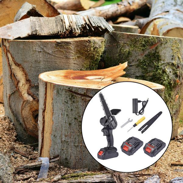 ミニチェーンソーコードレス、6インチポータブル充電式コードレスパワーチェーンソー、木の枝の木材切断用の片手操作ポータブルウッドソー