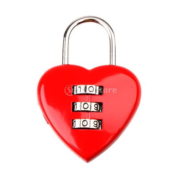 ハート型 3桁 コードロック 南京錠 パスワードリセット可能 荷物 バッグ 防犯用