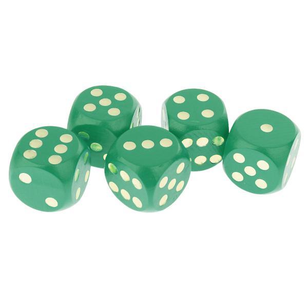 5ピース/セット3センチ木製サイコロD6 6面D&D TRPGおもちゃの緑のサイコロ