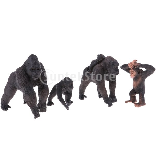 動物モデルプラスチックフィギュア家の装飾装飾品置物全12種類-ゴリラ