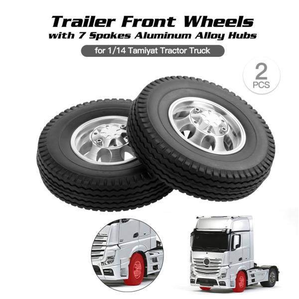 タミヤ1:14トラクタートラックフロントタイヤ用2xタイヤとホイールリムセットハブ