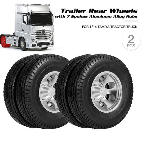 タミヤ1:14トラクタートラックリアタイヤ用2xタイヤとホイールリムセットハブ