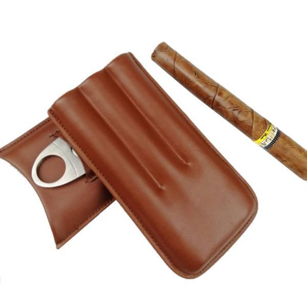 牛皮革トラベルポータブルシガーホルダー防水防湿3葉巻ケースヒュミドールステンレス鋼シガーカッター