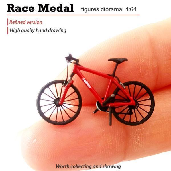 1:64ミニ自転車シーンモデルマウンテンバイクジオラマSスケールレッド