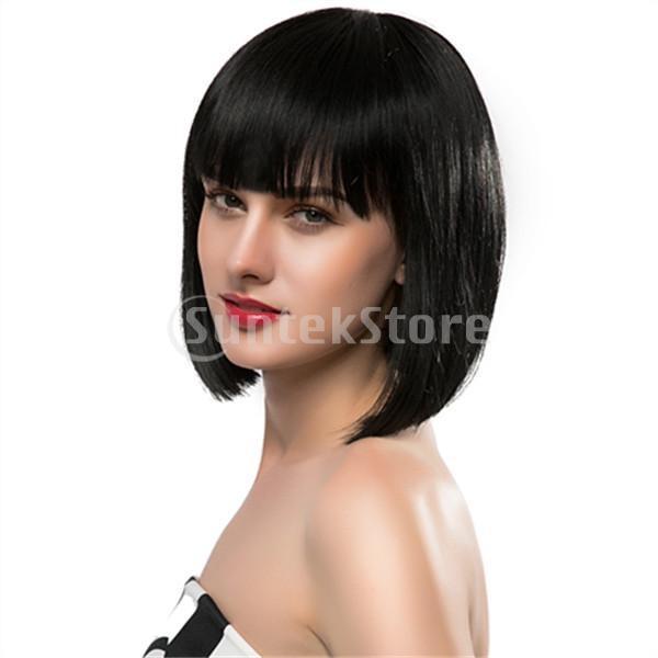 ボボ型 ウィッグ 女性 可愛い おしゃれ 短髪 耐熱 ブラック 33cm