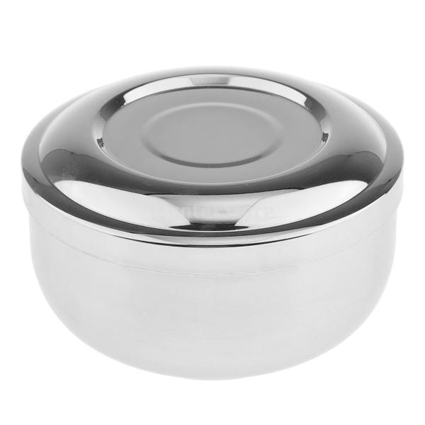 ステンレススチール メンズ シェービングブラシマグカップ ボウル 泡立ち 蓋付き|stk-shop
