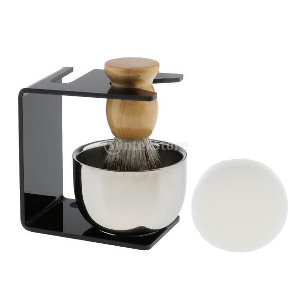 シェービングブラシセット ステンレス製スタンド ブラシ 石鹸 シェイプのマグカップ 髭剃り ひげ  メンズ 4点セット |stk-shop