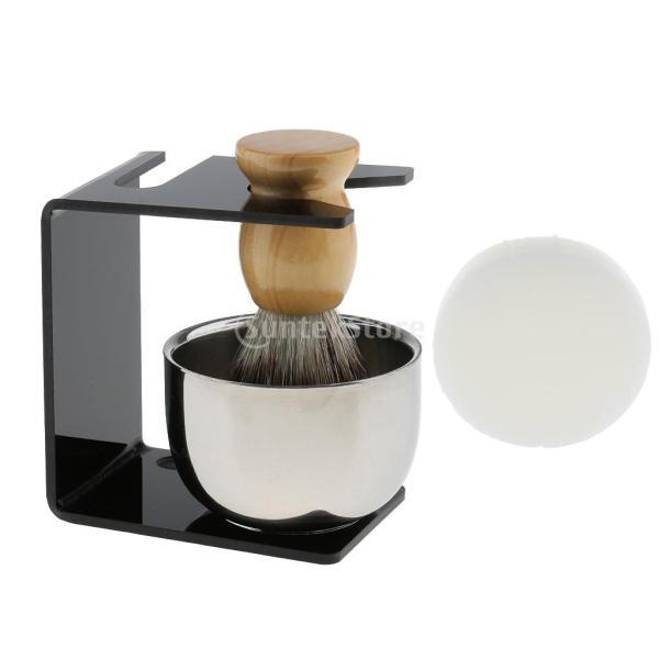 シェービングブラシセット ステンレス製スタンド ブラシ 石鹸 シェイプのマグカップ 髭剃り ひげ  メンズ 4点セット |stk-shop|03