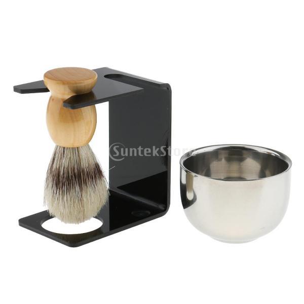 シェービングブラシセット ステンレス製スタンド ブラシ 石鹸 シェイプのマグカップ 髭剃り ひげ  メンズ 4点セット |stk-shop|10