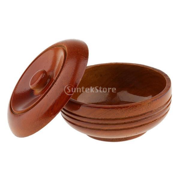 素晴らしい デザイン 古典的 木製 メンズ シェービングボウル マグカップ 石鹸 クリームカップ 蓋付き 理髪ツール |stk-shop|04