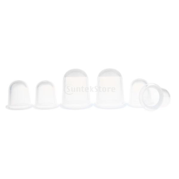 6個 シリコン カップリング  抗セルライト マッサージ 真空カッピング フェイス ボディ カップ 5色選べ - クリア|stk-shop|02