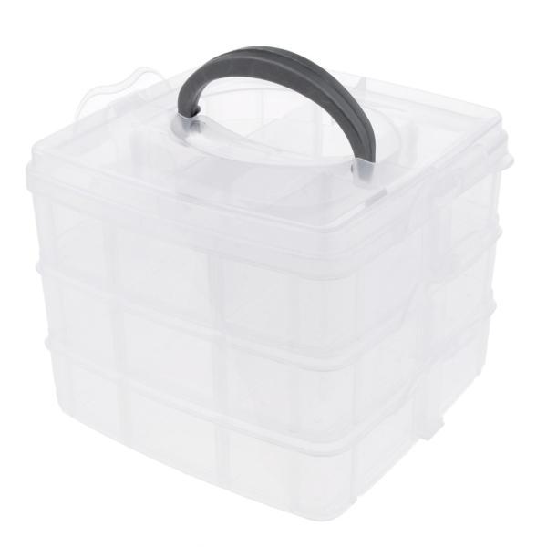 硬質プラスチック 3段 調整可能 収納ボックス 小物保管適用 収納箱 蓋付き 全4色選べる  - クリア