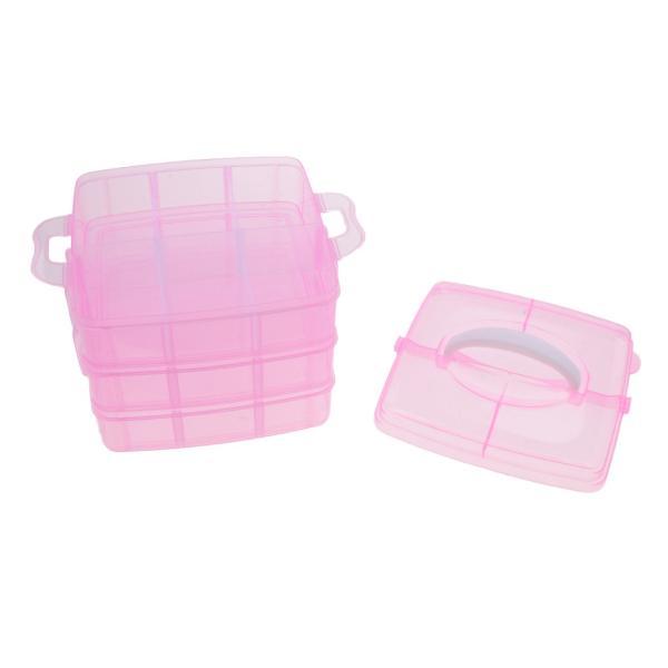 硬質プラスチック 3段 調整可能 収納ボックス 小物保管適用 収納箱 蓋付き 全4色選べる  - ピンク