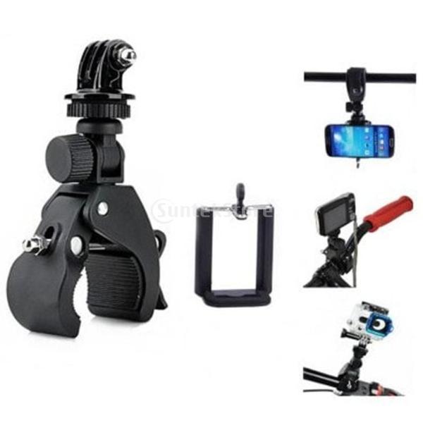 Lovoski スマートフォンスポーツカメラカードカメラに対応 3IN1 自転車用 三脚マウントホルダー ブラック インストール簡単