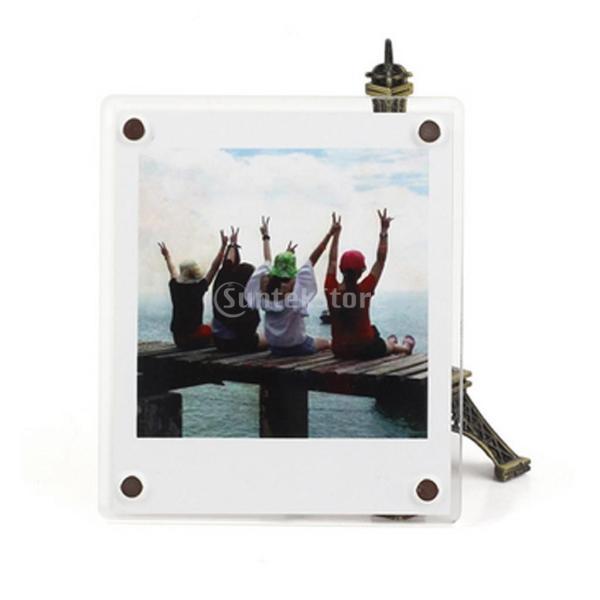 Perfk Fujifilmに対応 5ピース アクリル マグネット フォトフレーム 冷蔵庫 3インチ 写真ディスプレイ 90x60x3mm