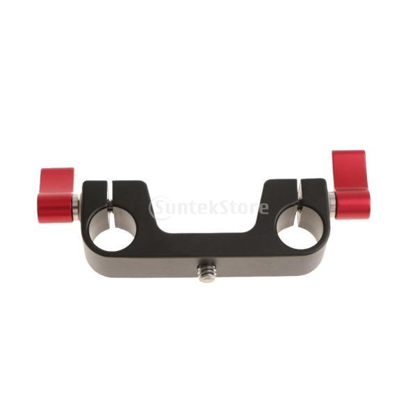 Dolity カメラシステムショルダーリグに対応 1/4インチ デュアル 15mm ロッド クランプ マウント  交換性 便利性 高性能 安定性  全2色 - 赤