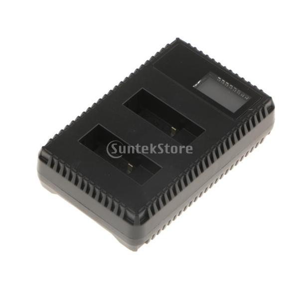 IPOTCH LCD USB 充電式二重充電器  Gopro Hero 5/6スポーツカメラ バッテリーに対応  ブラック ABS