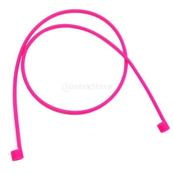 シリコーン スポーツ イヤホン アンチロスト ストラップ アップルエアポッドヘッドフォンに対応  耐久性 互換性  全7色 - ピンク