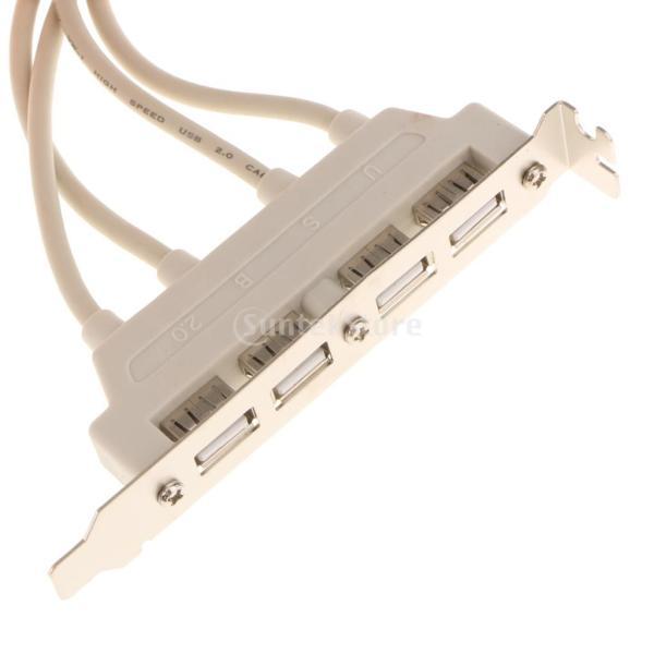 デュアル 10ピン マザーボード ヘッダー→4ポート USB2.0 バック パネル スロット ブラケット ケーブル 耐久性 互換性|stk-shop|02