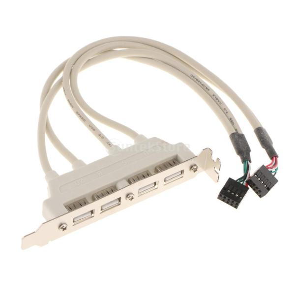 デュアル 10ピン マザーボード ヘッダー→4ポート USB2.0 バック パネル スロット ブラケット ケーブル 耐久性 互換性|stk-shop|03