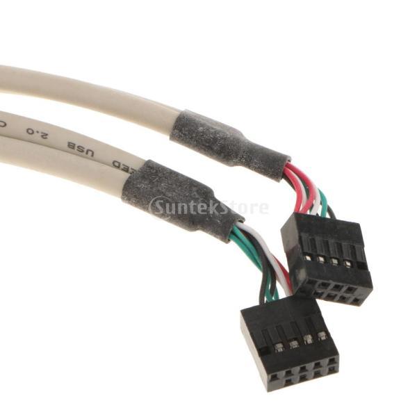 デュアル 10ピン マザーボード ヘッダー→4ポート USB2.0 バック パネル スロット ブラケット ケーブル 耐久性 互換性|stk-shop|06