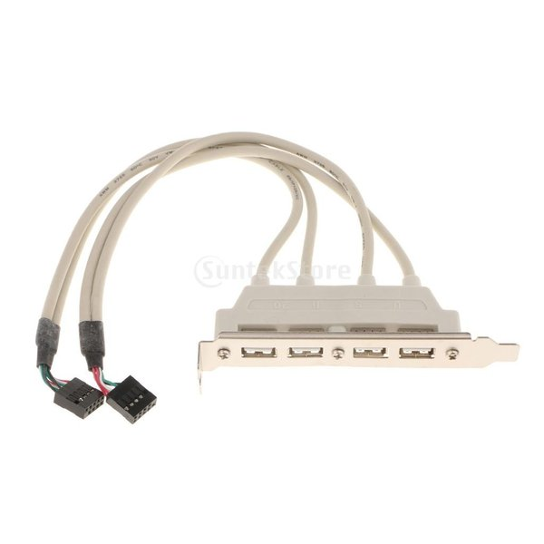 デュアル 10ピン マザーボード ヘッダー→4ポート USB2.0 バック パネル スロット ブラケット ケーブル 耐久性 互換性|stk-shop|07