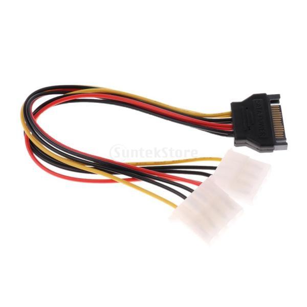 電源コネクタ SATA 15ピンオス - デュアル4ピン Molexメス Yスプリッタ ケーブル 25cm stk-shop 08