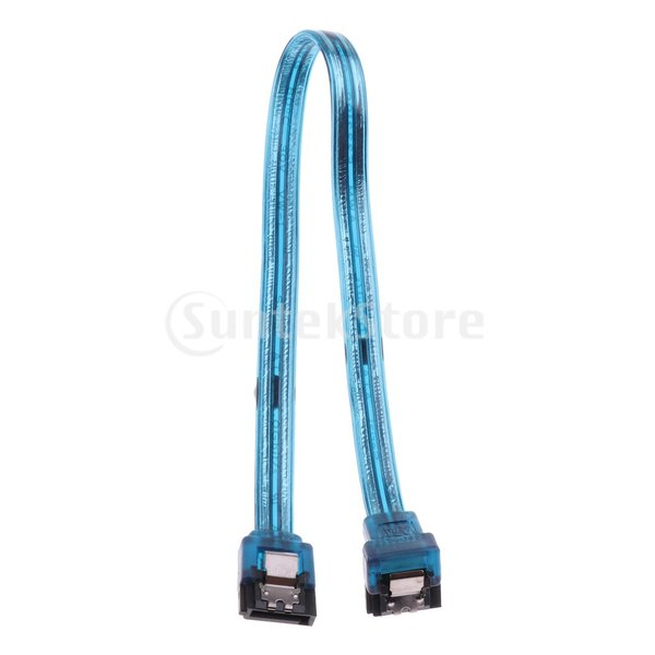 Prettyia 交換性 便利性 25cm  SATA III 6.0Gbpsケーブル ロックラッチ付き 90度プラグ  青
