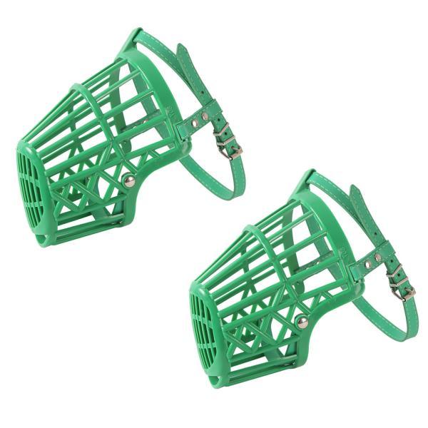 犬の訓練のための2pc調節可能なバスケット口の銃口カバー樹皮のかみ傷の緑#4