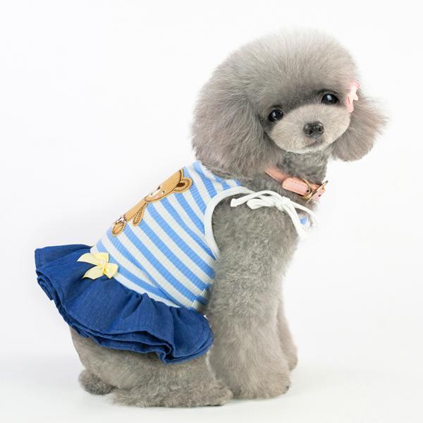1個の子犬犬の夏のドレスストライプスカート小型犬の服の服ブルーL
