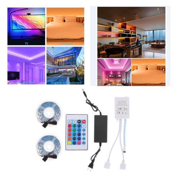 テレビのリビングルームのホームバーの装飾のための屋外LEDライトストリップリモートIRコントロール24キー10M