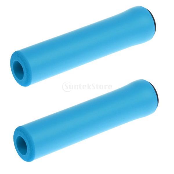 1ペア  自転車  シリコン製  ハンドルバー  グリップ  ソフト 滑り止め   マウンテンバイク  グリップ  全4色  - ブルー|stk-shop|03