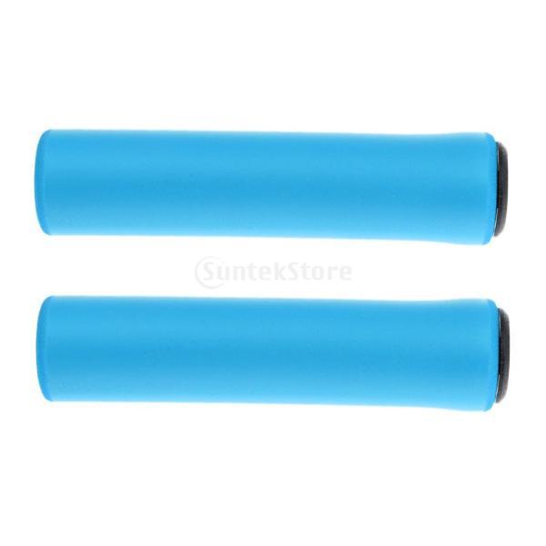 1ペア  自転車  シリコン製  ハンドルバー  グリップ  ソフト 滑り止め   マウンテンバイク  グリップ  全4色  - ブルー|stk-shop|04