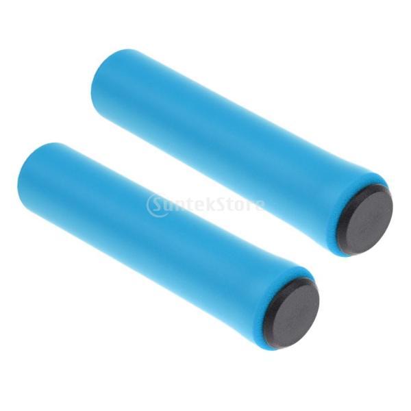 1ペア  自転車  シリコン製  ハンドルバー  グリップ  ソフト 滑り止め   マウンテンバイク  グリップ  全4色  - ブルー|stk-shop|06