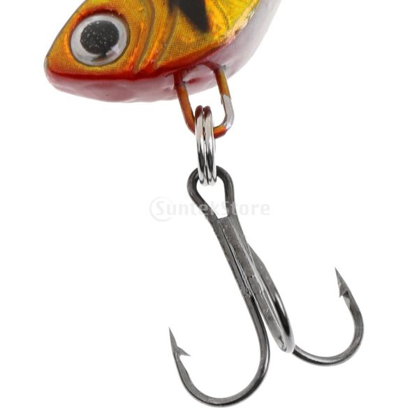 ノーブランド品  釣り愛好者 リード 釣りルアー ハード餌 スピナー スプーン メタル  スパンコール  トレブルフック 4色選べる  - イエロー