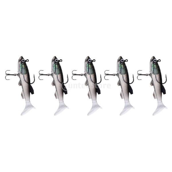 Lovoski 5個セット 釣りルアー ソフト餌 フック バイオニック クランクベイト 約8-9cm 全5色  - #2