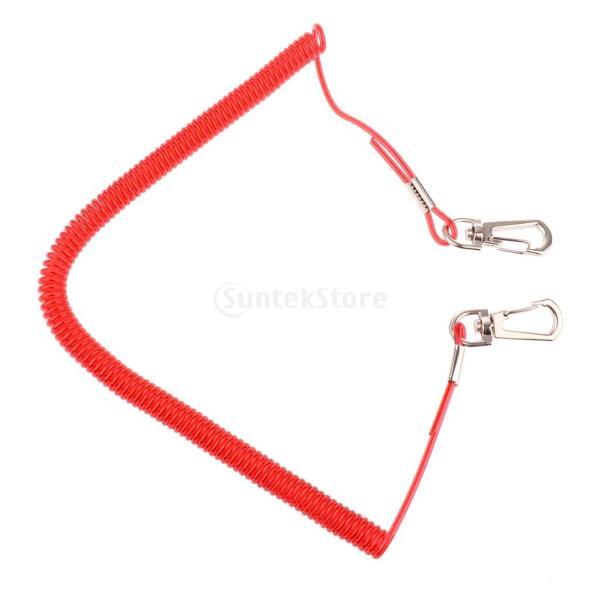 Lovoski 安全ロープ  釣り コイルド ランヤード   ワイヤー  スチール  付属品   全6サイズ - 3m