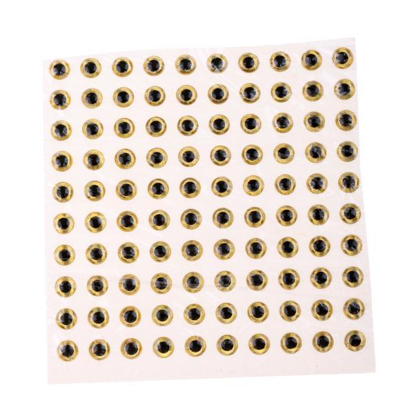 Fenteer エポキシ製  4mm 3D目 ホログラフィック 釣りルアー アイズ フライ タイイング 約100個 クラフト 全3色 - ゴールド
