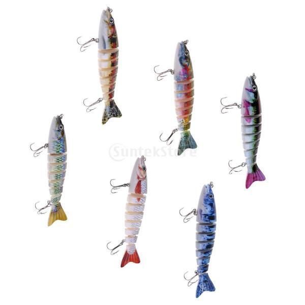 ルアー 本物みたい 人工餌 マルチジョイント 釣り用 フック付き 全6色 - 1#|stk-shop|03
